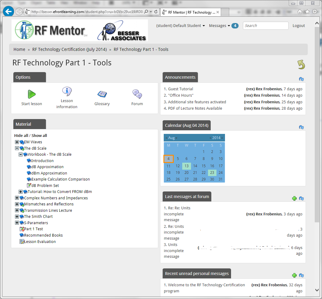 RF Mentor Screen Snapshot